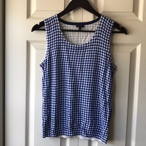 Talbots blue & white gingham shell tank